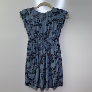 H&M Girls Chambray Butterfly Print Dress sz 9-10Y
